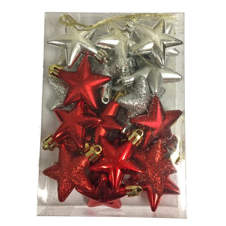 - Red and Silver Stars Shiny Matte and Glitter Christmas Tree Ornaments Set of 20