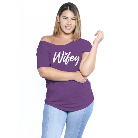Plus Size Couples (Awkward Styles Womens Wifey Shirts Off the Shoulder Plus Size Wifey Shirt for Women Oversized Gift for Future Wife Wifey Matching Couple Shirts Marriage Party Wifey Off Shoulder Tshirt Top)