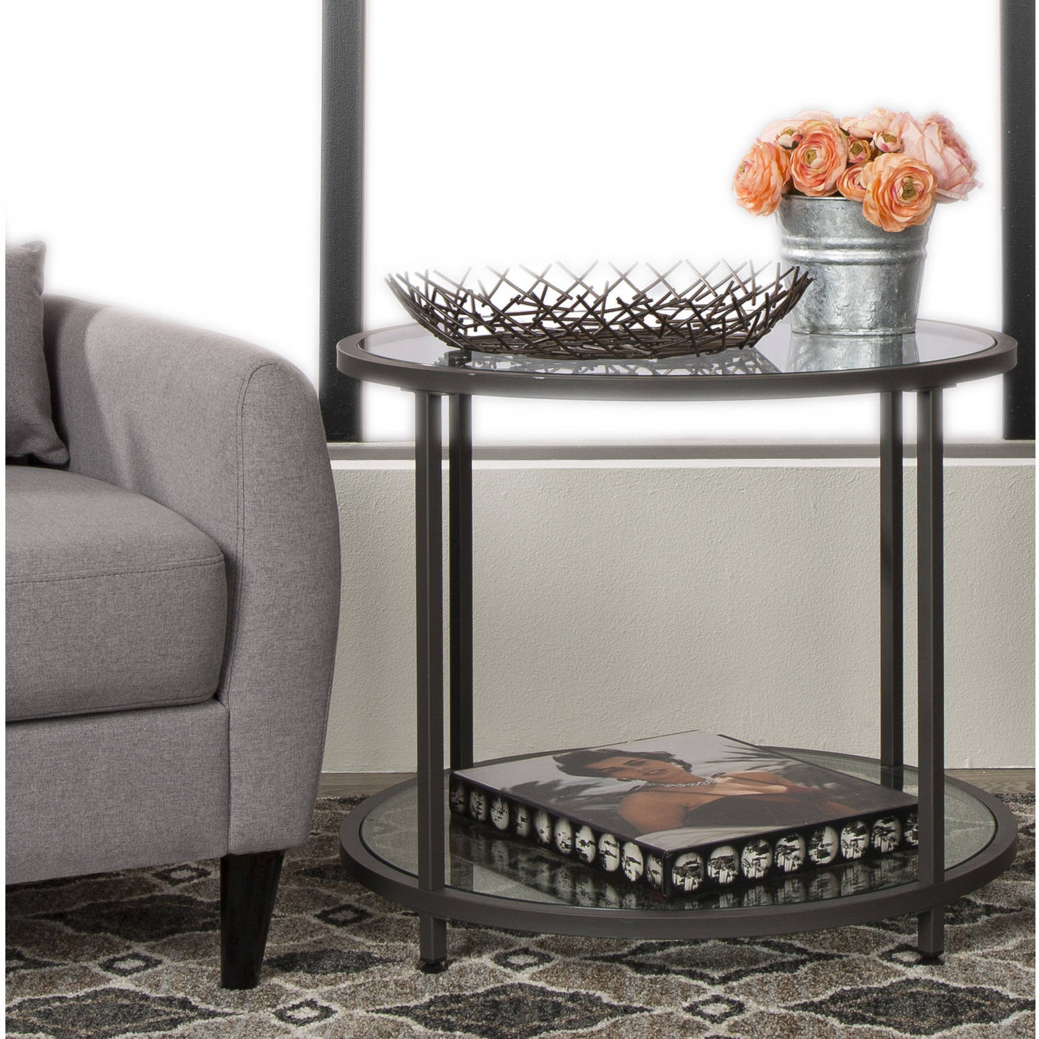 Studio Designs Home Camber Round End Table, Pewter