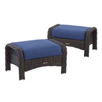 Better Homes & Gardens 2-Piece Wicker Patio Ottoman Set with Blue Cushions