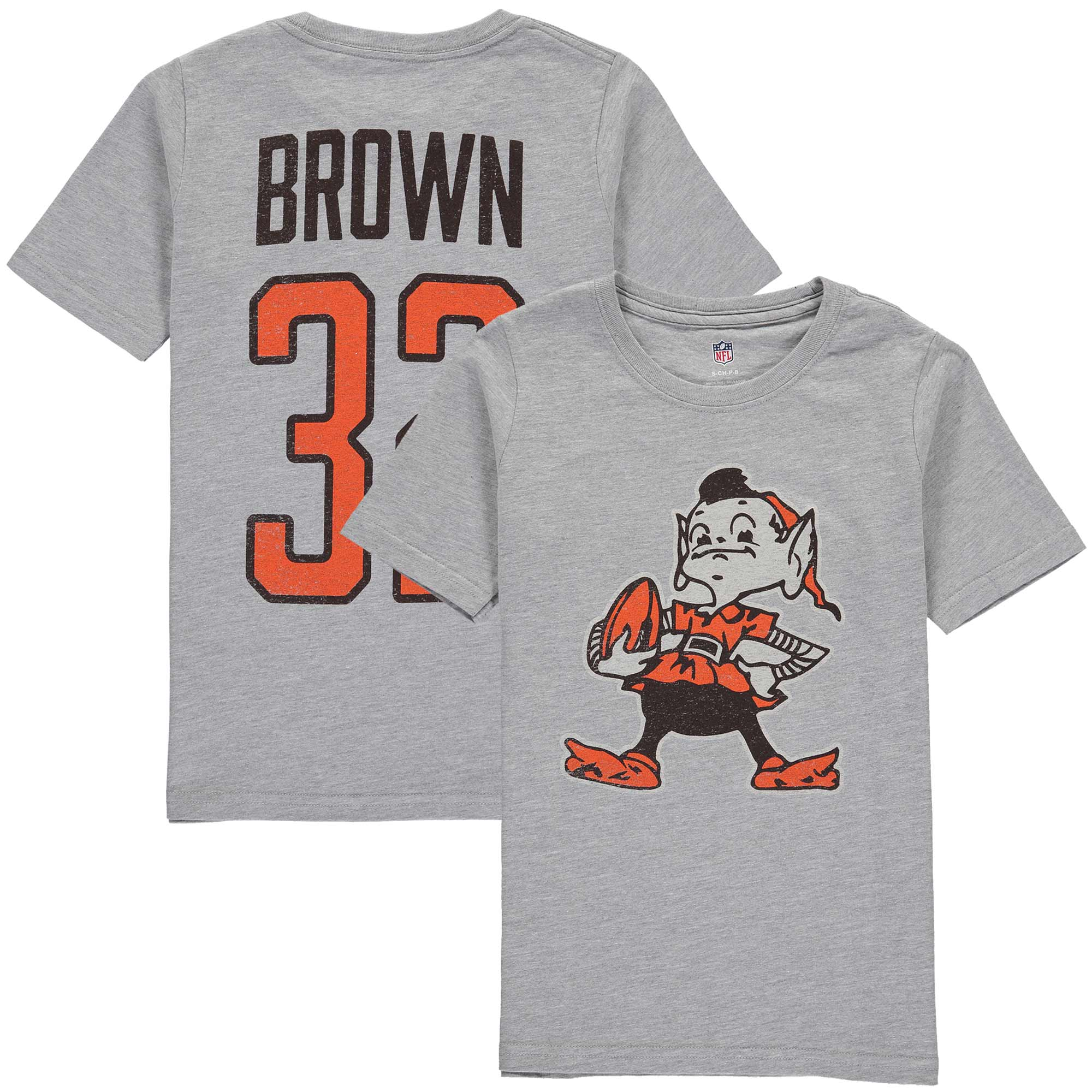 Jim Brown Cleveland Browns Youth Retired Player Vintage Name & Number T-Shirt - Heathered Gray