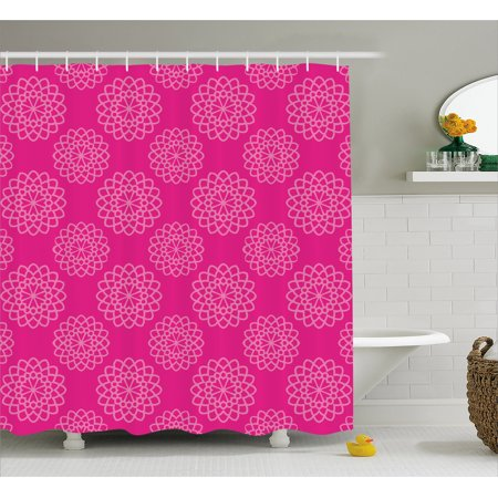 Hot Pink Shower Curtain Geometrical Abstract Flower Motifs Garden Meadow Inspired Feminine Girls Design