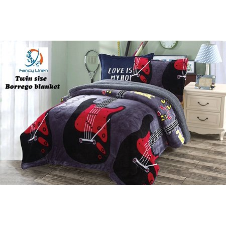 Fancy Collection 2 pc Twin Size Teens/Boys Charcoal/Dark Grey Black Red yellow Guitar Music Instruments Blanket Sumptuously Soft Plush with Sherpa Winter Blankets Bedspread Super Soft