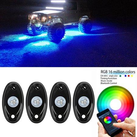 4X RGB LED Rock Light Pod Music Mini Bluetooth Flashing Multicolor Off Road