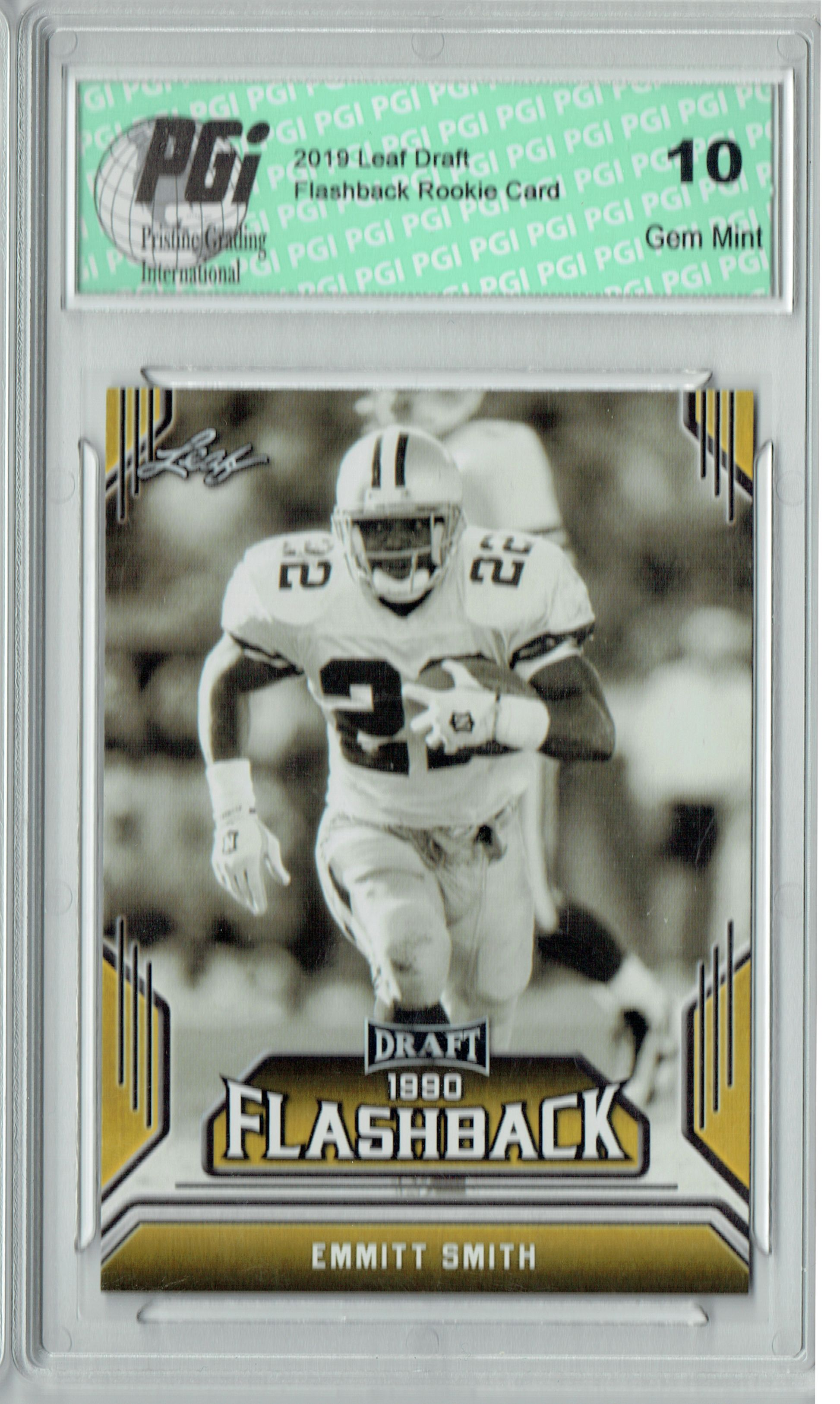 Emmitt Smith 2019 Leaf Draft 06 Gold Flashback Rookie Card Pgi 10
