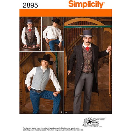 Jacket Simplicity Pattern - Simplicity Men's Size 46-52 Frock Coat, Shirt & Vest Pattern, 1 Each