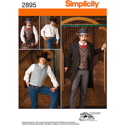 Simplicity Pattern Men's Frock Coat, Shirt, and Vest, (46, 48, 50, 52)