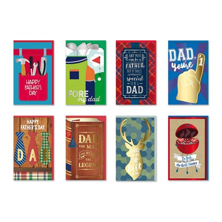 B-THERE Happy Father's Day Cards Bundle of 8 Different Handmade Greeting Cards Embellished with Love Boxed Fathers Day Cards for Dad. Envelopes Included](Happy Halloween Card Verse)