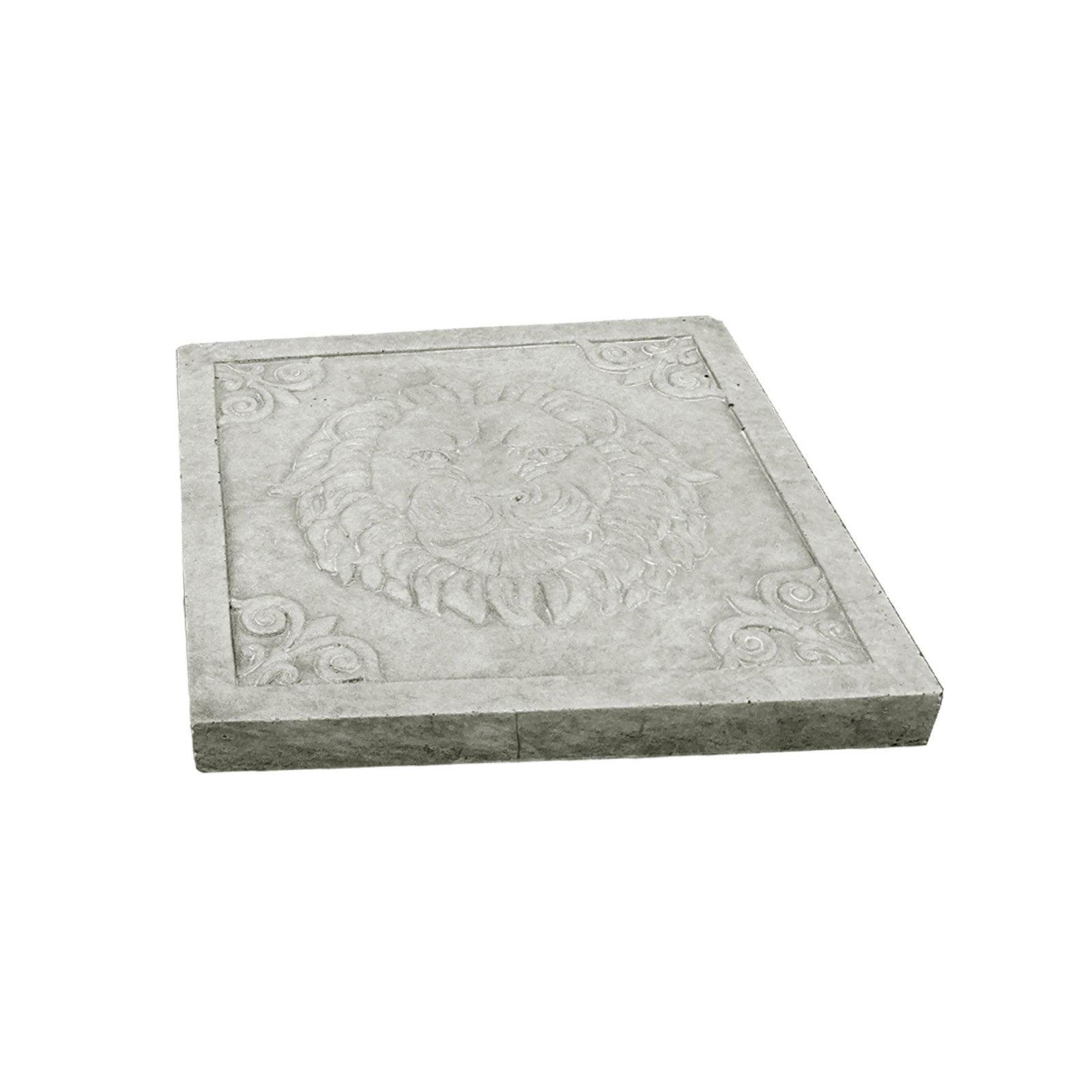 DurX-litecrete Lightweight Concrete Lion Square Stepping Stone by Xierun Garden USA Inc
