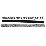 Lux Accessories Tattoo Black Velvet Suede Silver Studded Stone Choker Set 3Pcs