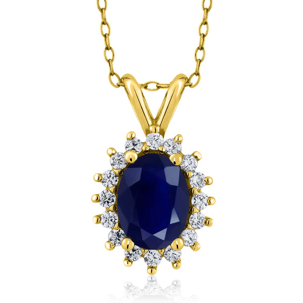 2.03 Ct Oval Blue Sapphire 14K Yellow Gold Pendant Necklace With 18 inch Chain by