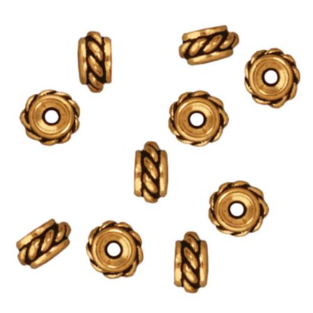 Fine Gold Plated Pewter Twisted Hole Spacer Beads 6mm (10)