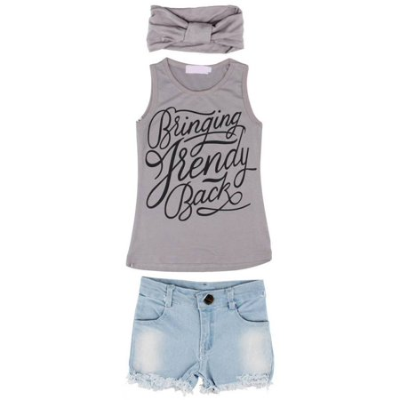 3Pcs/Set Toddler Kids Girls Summer Casual Tank Top Denim Shorts Headband - Kids Slim Fit Suits
