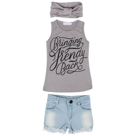 3Pcs/Set Toddler Kids Girls Summer Casual Tank Top Denim Shorts Headband Suit