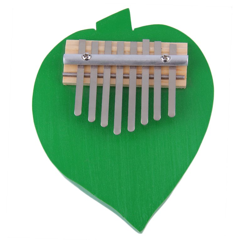 New Peach Heart Shaped 8 Keys Kalimba Mbira Thumb Piano Likembe Sanza Green