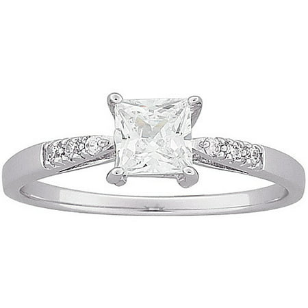 1.28 Carat T.G.W. Square CZ Engagement Ring in Sterling Silver ()