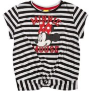 Disney Junior Big Girls Striped Minnie Mouse Ivory Black Front Knot Tee Shirt Blouse