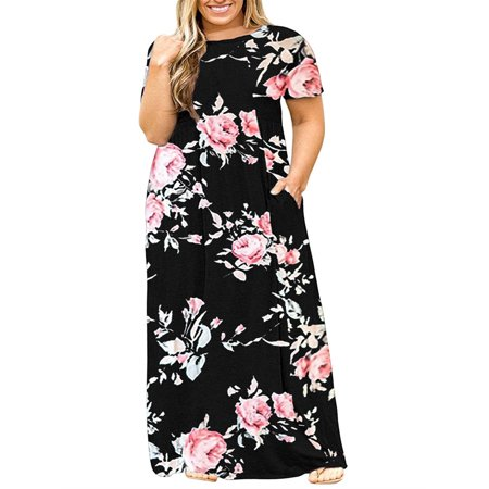 SySea - Short Sleeve Plus Size Women Print Long Maxi Dress - Walmart.com