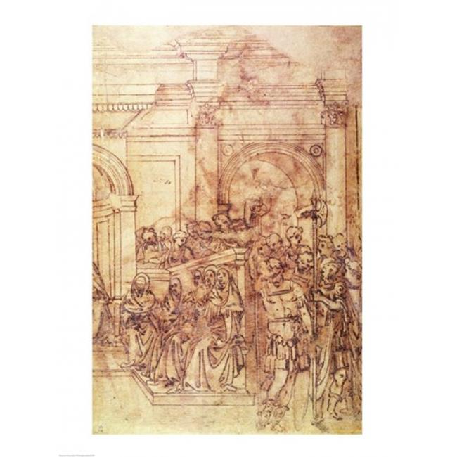 Posterazzi BALBAL69784LARGE W.29 Sketch of A Crowd for A Classical Scene Poster Print by Michelangelo Buonarroti - 24 x 36 in. - Large - image 1 of 1