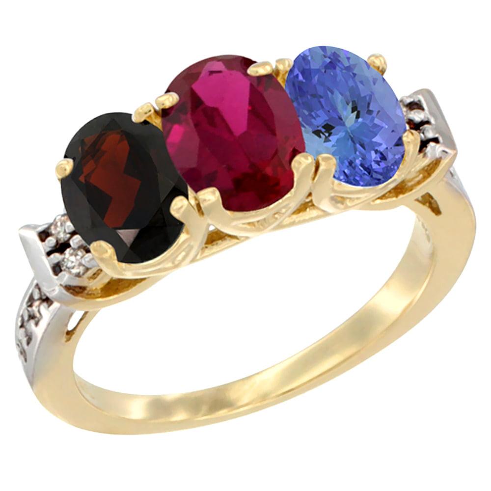 10K Yellow Gold Natural Garnet, Enhanced Ruby & Natural Tanzanite Ring 3-Stone Oval 7x5 mm Diamond Accent, sizes 5 - 10