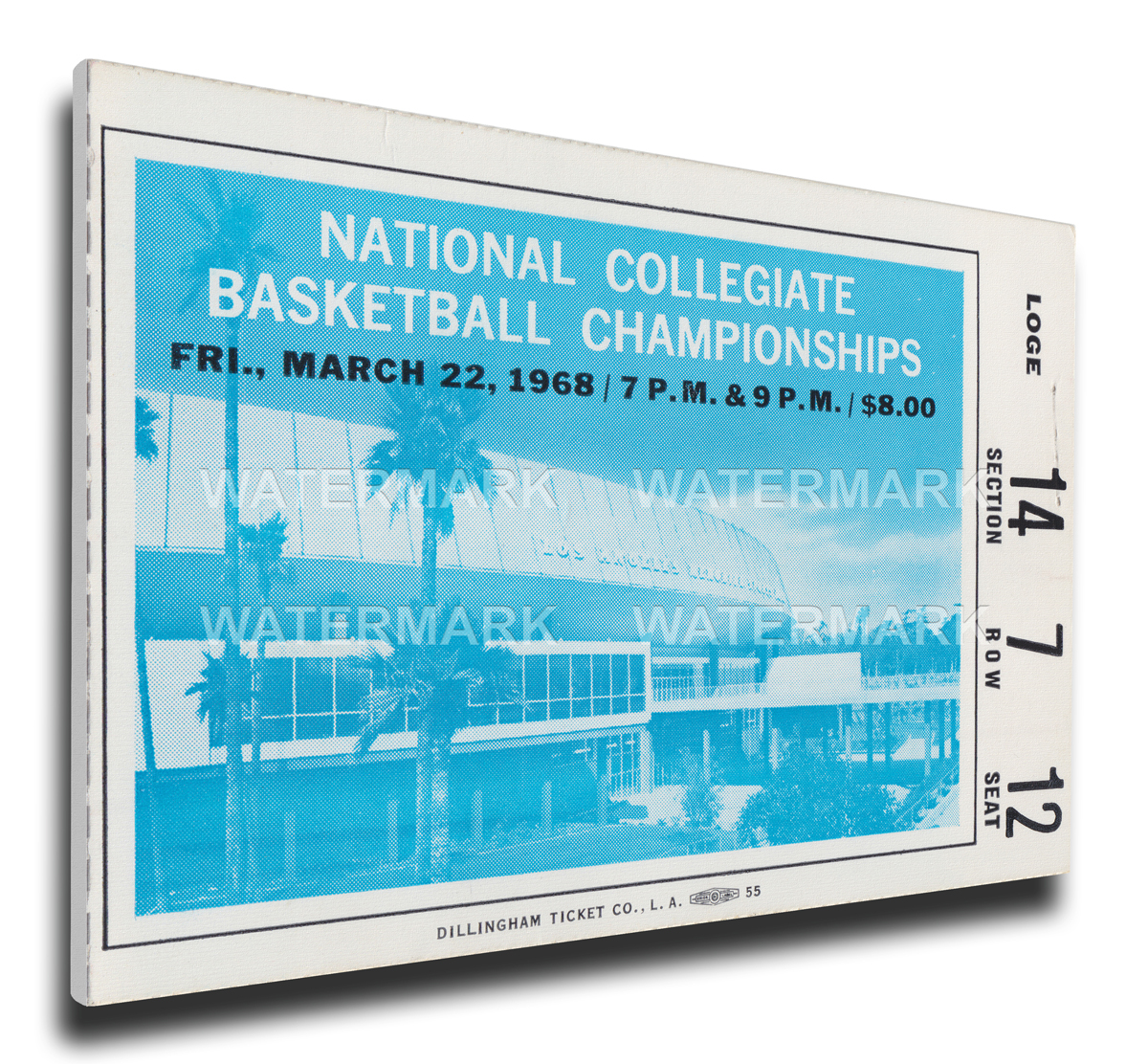 1968 NCAA Basketball Finals Canvas Mega Ticket - UCLA Bruins