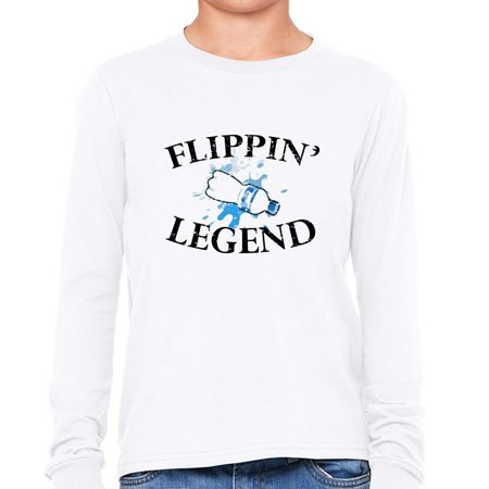 Water Bottle Flipping Legend - Awesome Graphic Boy's Long Sleeve T-Shirt