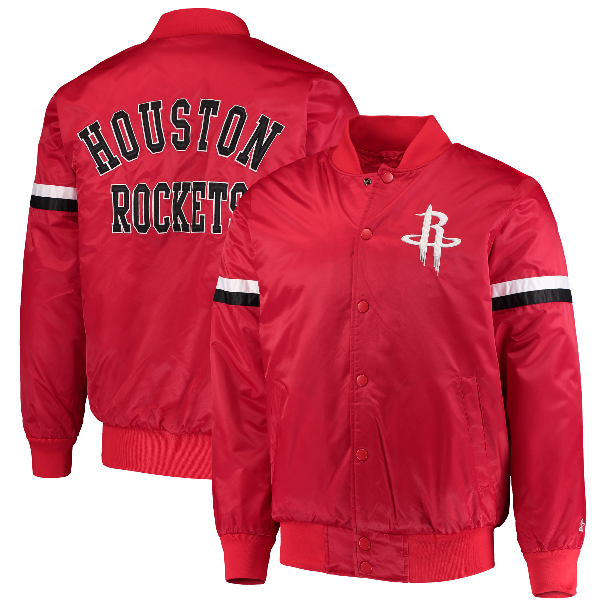 Houston Rockets Starter The Champ Varsity Satin Jacket - Red