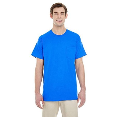 PGA 707M450XLG Adult Comports Colors Pocket Tee, Light Blue - Extra Large