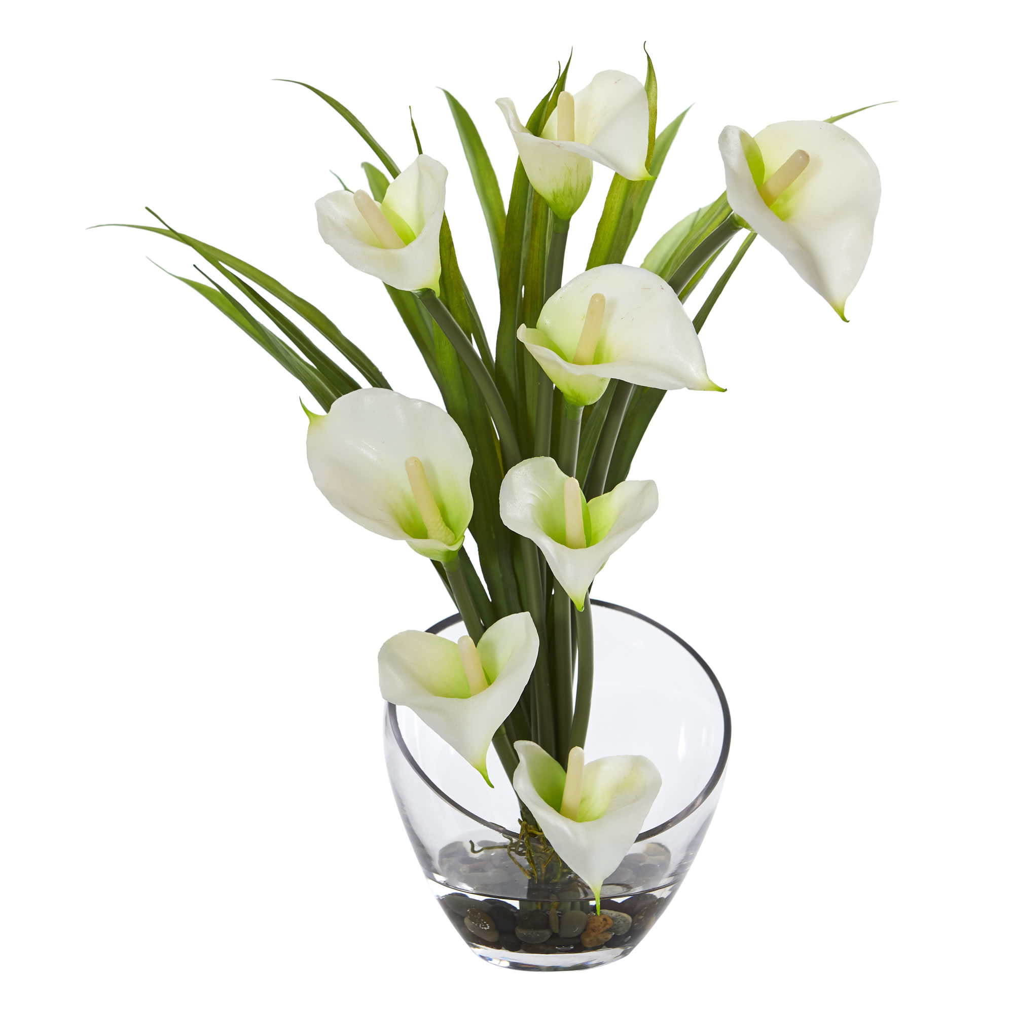 Nearly Natural 15.5 in. Calla Lily and Grass Artificial Arrangement in Vase