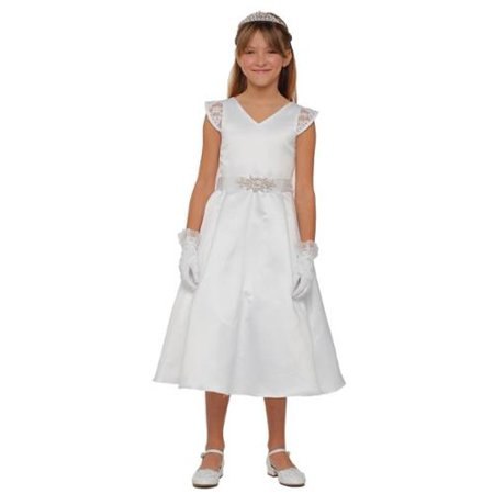 Girls White Dull Satin Lace Pearl Buckle Belt Communion Dress - Boucle Dress