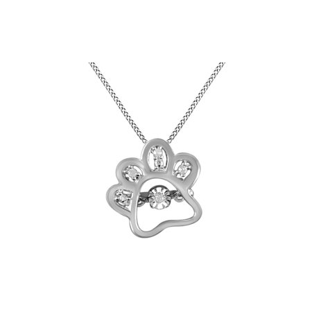 Natural Diamond White Gold Over Dog Paw Pendant Necklace in 14k White Gold Over Sterling Silver