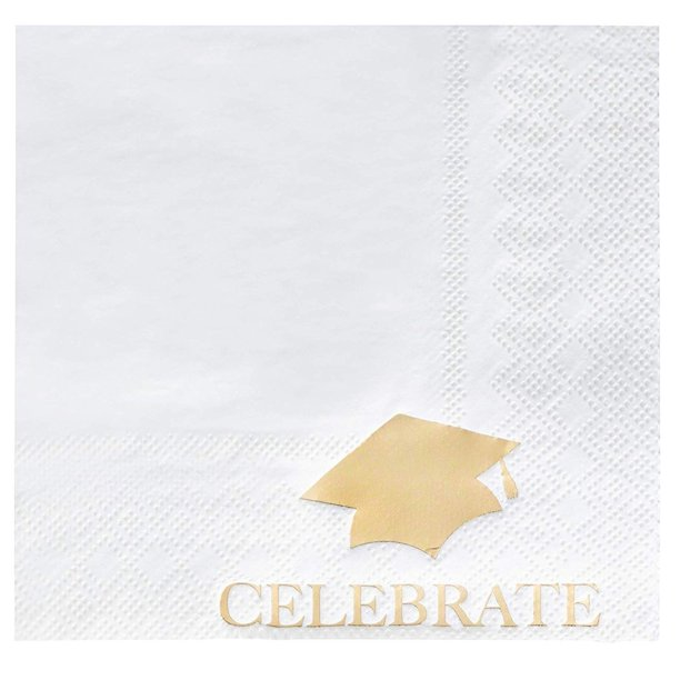 50 Pack Celebrate With Graduation Cap Print Gold Foil Cocktail Napkins 5 X Inches 3 Ply White Disposable Paper For Party Celebrations Luncheons Tabletops Decoration Supplies Walmart Com