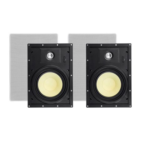 Monoprice 2 Way In-Wall Speakers - 8 Inch (Pair) With Snap-Lock, Aramid Fiber And Titanium Silk Drivers - Caliber Slim Series