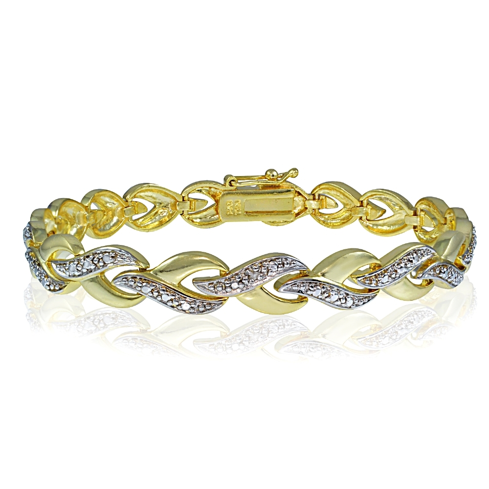 Genuine Diamond Accent Infinity Link Tennis Bracelet in Gold Tone