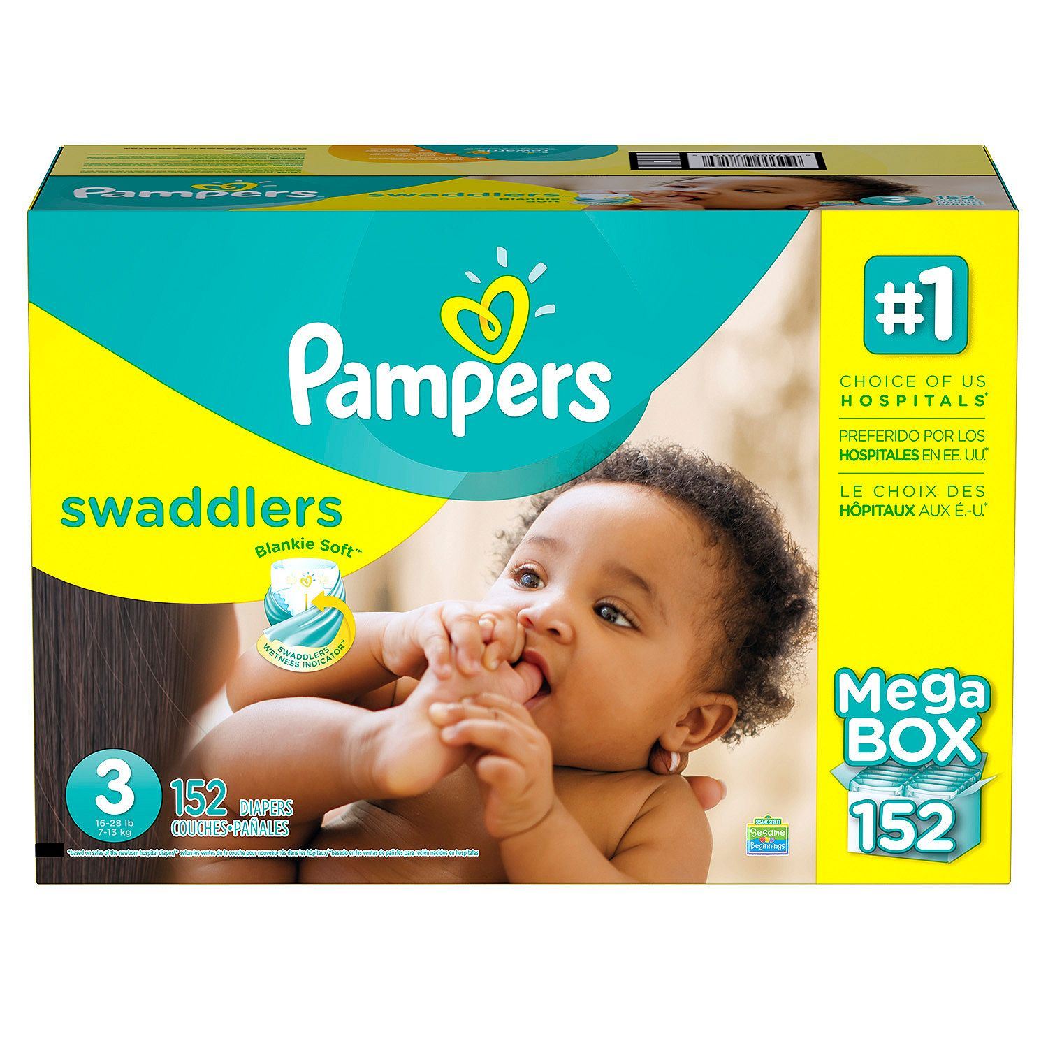 Pampers' Swaddlers Diapers Size 3 - 152 ct. ( Weight 16- 28 lb.) - Bulk Qty, Free Shipping - Comfortable, Soft, No leaking & Good nite Diapers