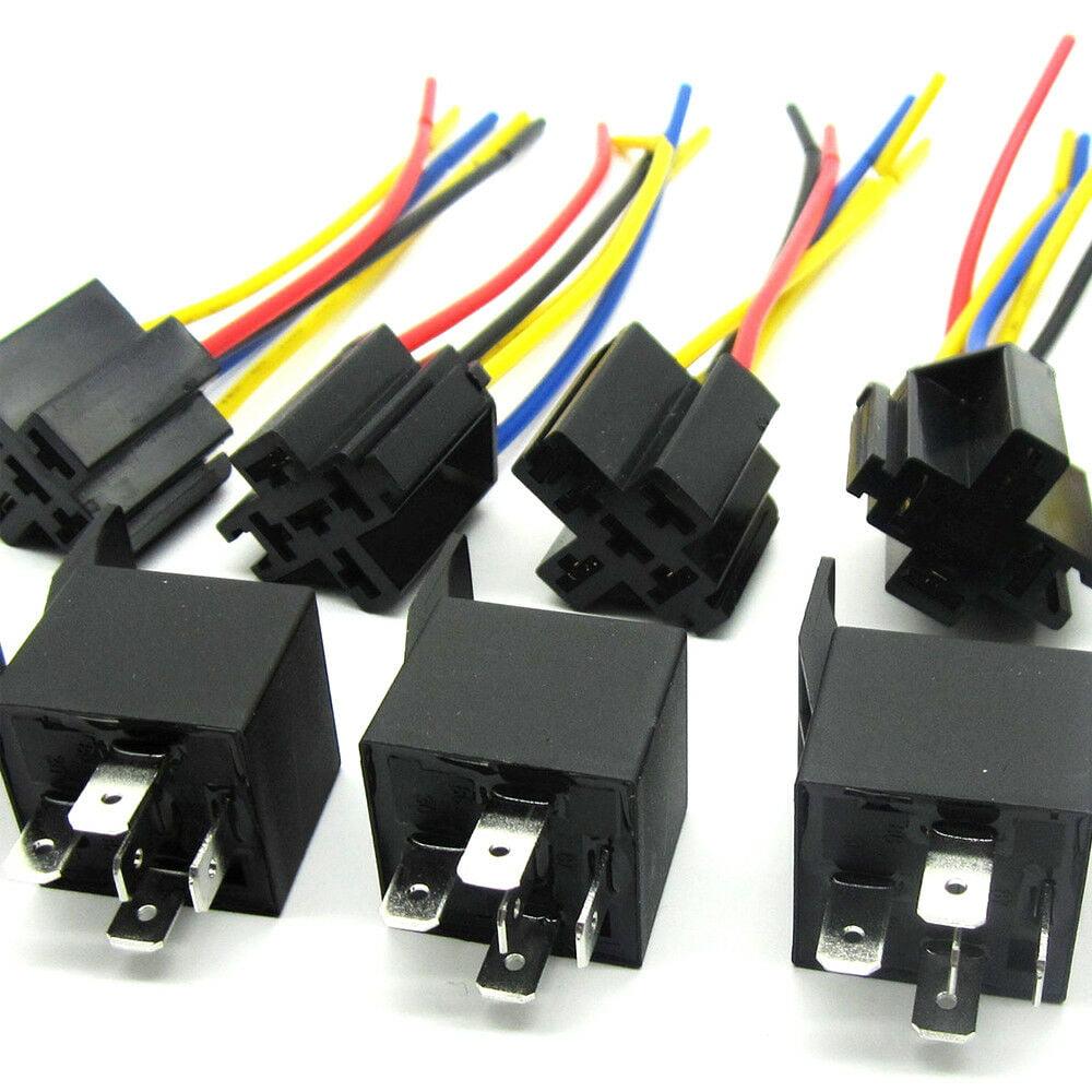 5x 12 Volt 30  40a Spdt Relay   Wire Socket Car Automotive