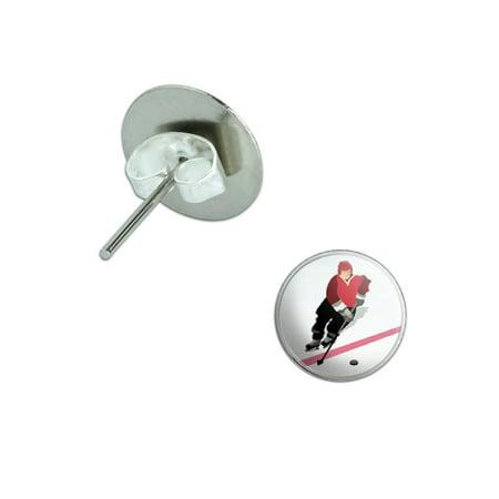 Ice Hockey Player Red Jersey Pierced Stud -