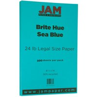 JAM Bright Legal Paper, 8.5x14, 24lb Sea Blue, 500/Pack