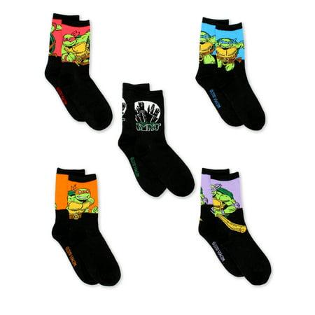 TMNT Teenage Mutant Ninja Turtles Boys 5 pack Crew Socks (Boys) NJ122BCCZA