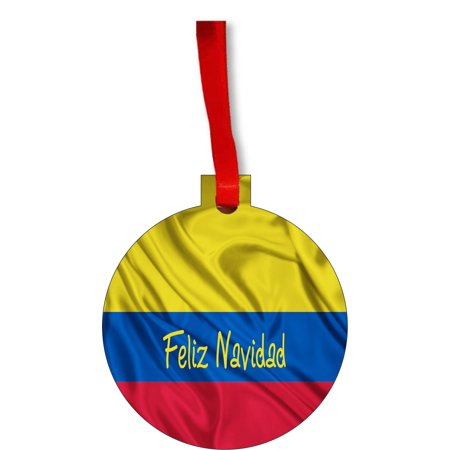 Flag Colombia Feliz Navidad Colombian Flag Round Shaped Flat Hardboard Christmas Ornament Tree Decoration - Unique Modern Novelty Tree Décor Favors for $<!---->