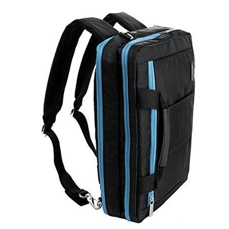 VanGoddy El Prado 3-in-1 Messenger + Backpack + Briefcase Transformer for 15 to 16 inch Laptops and Tablets - Black/Aqua - image 1 of 4
