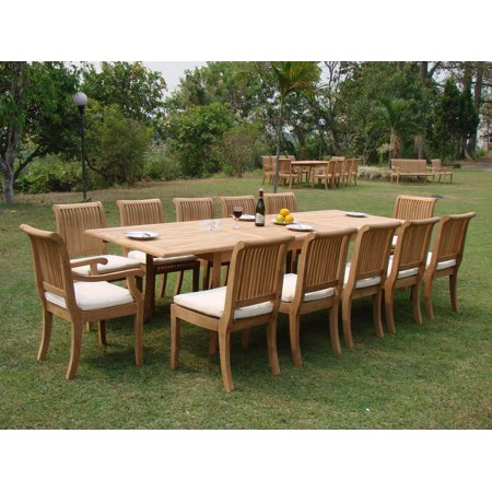Teak dining set 12 seater 13 pc very large 122 for 12 seater outdoor table and chairs