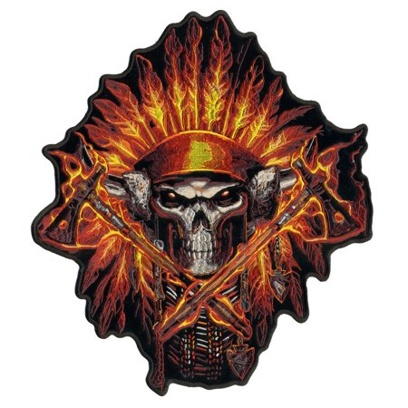 Flame Headdress Indian, Exceptional Quality Iron-on / Saw-on, Heat Sealed Backing Rayon PATCH - 11