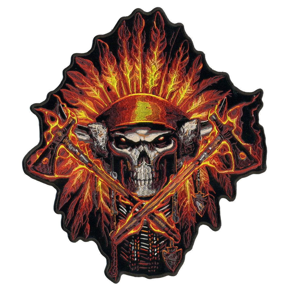 """Flame Headdress Indian, Exceptional Quality Iron-on / Saw-on, Heat Sealed Backing Rayon PATCH - 11"""" X 12"""""""