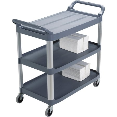 Rubbermaid Commercial, RCP409100, 3-Shelf Mobile Utility Cart, 1 Each, Gray