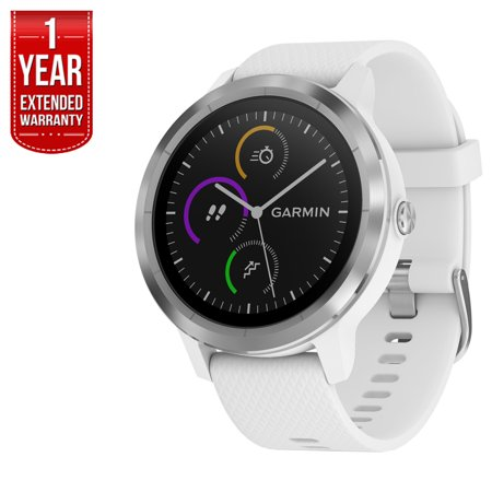 Garmin 010 01769 21 Vivoactive 3 Gps Fitness Smartwatch  White   Stainless    1 Year Extended Warranty