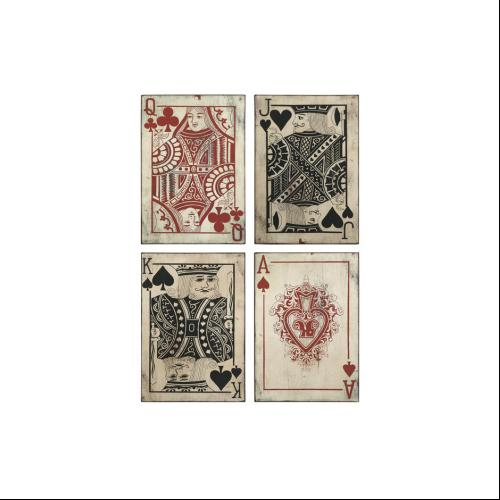 Set Of 4 Antique Style Casino Playing Cards Wall Art