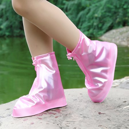 Waterproof Shoes Cover Reusable Rain Snow Overshoes Covers for Men & Women Color:Rose red Size:M