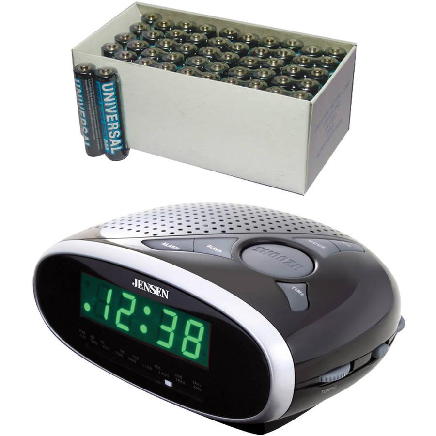 Jensen JCR-175 AM/FM Alarm Clock Radio, Includes 50 AAA Batteries