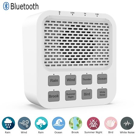 Portable Bluetooth Speaker, Rechargeable White Noise Machine 8 Natural Soothing Sounds Sleeping Relaxation Sound Machine, Noise Cancelling Auto-Off Timer Sleep Therapy- Home Office Travel Baby